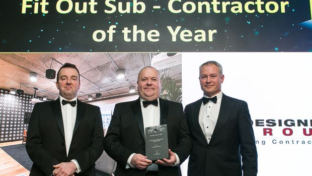 Niall Rock, Managing Director, Storage Systems presents the Fit Out Sub-Contractor of the Year award to Niall Stone & Niall Treacy, Designer Group