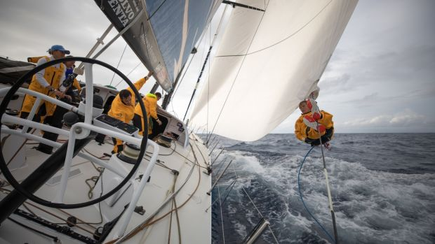 The crew in action on Turn the Tide on Plastic during the second leg of the Volvo Ocean Race from Lisbon to Cape Town. Photograph: Sam Greenfield/Volvo Ocean Race