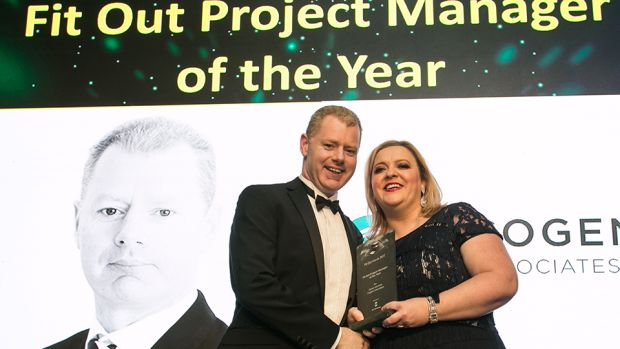 Lorraine Carlisle, CEO, The FKM Group presents the Fit Out Project Manager of the Year award to Ciaran McArdle, Cogent Associates