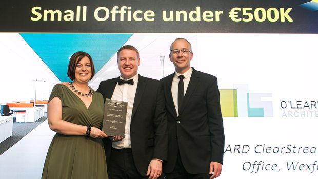 Martin Johnston, Interiors Director, Hunt Office Interiors, presents the Fit Out Project of the Year – Small Office under €500K award to Sharon & Cathal O'Leary, O'Leary Sludds Architects