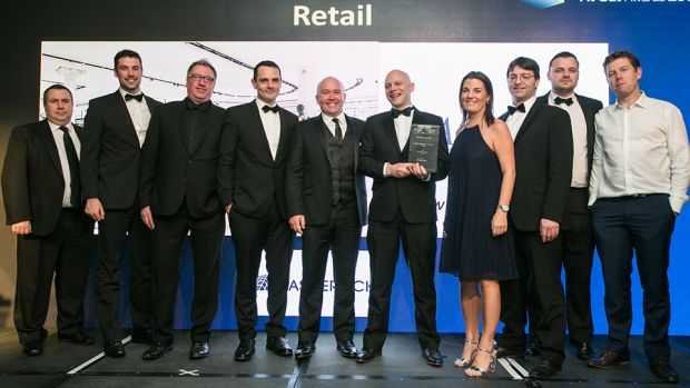 Richard Flood, Managing Director, Castlerock presents the Fit Out Project of the Year – Retail award to the McCabe McGinn, Brown Thomas & Fiontar Safety Management project teams