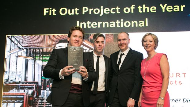 Sarah McDonnel, Principal, Unispace presents the Fit Out Project of the Year – International award to Dara Mulhern, Damien Culligan & Justin Kinsella, Harcourt Architects
