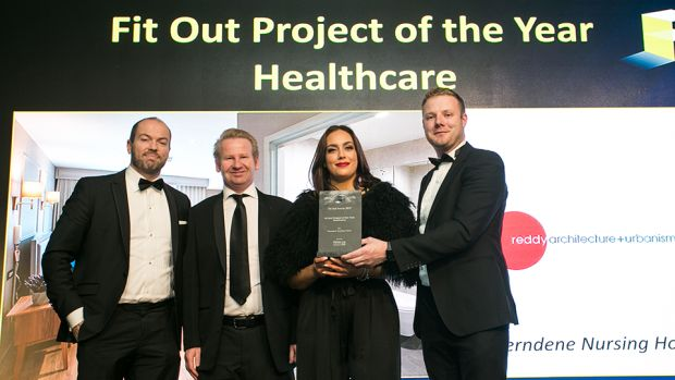 Gerard de Brún, Director, Fiontar Safety Management presents the Fit Out Project of the Year - Healthcare award to the Mike Freaney & Danielle Delaney, Reddy Architecture + Urbanism and Ronan Willis, Willis Care Group