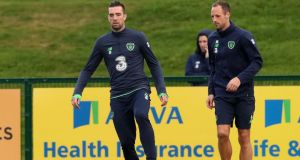 Republic of Ireland's Shane Duffy and David Meyler during a training session at the FAI National Training Centre, Abbotstown. Photo: Niall Carson/PA Wire