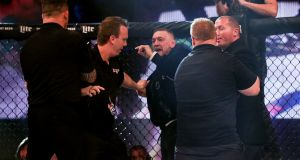 Conor McGregor was involved in an altercation with officials in the octagon at the  Bellator 187 event at the 3Arena. Photograph: Gary Carr/Inpho