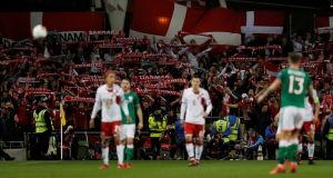 Danish fans celebrate at the Aviva Stadium. Photograph: Lee Smith/Reuters