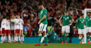 Shane Long  reacts after another Danish goal. Photograph: Lee Smith/Reuters