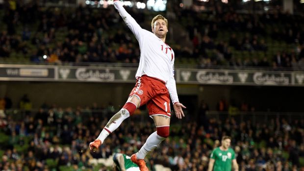 Denmark's Nicklas Bendtner celebrates scoring their fifth goal from the penalty spot. Photograph: Clodagh Kilcoyne/Reuters