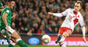 Denmark's Christian Eriksen  scores his second goal and Denmark's third during the World Cup playoff second leg against the Republic of Ireland at the Aviva stadium. Photograph:  Aidan Crawley