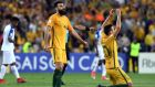 Australia's Mile Jedinak and Trent Sainsbury celebrate after beating Honduras in their 2018 World Cup qualification play-off football match at Stadium Australia in Sydney. Photograph: Getty Images