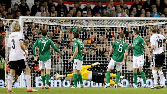 Toni Kroos scores during germany's 6-1 win over Irleand in 2012. Photograph: James Crombie/Inpho