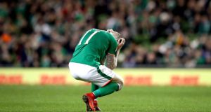 A dejected James McClean after Ireland's 5-1 defeat to Denmark. Photograph: Ryan Byrne/Inpho