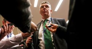 IRFU chief executive Philip Browne talks to the media after the decision to award ther 2023 Rugby World Cup to FRance was made in London. Photograph: Billy Stickland/Inpho