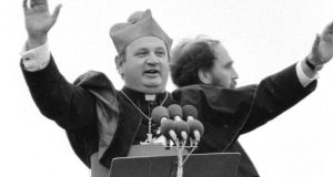 Duped: Bishop Eamonn Casey and Fr Michael Cleary entertain the crowd before Pope John Paul II's arrival in Galway in 1979. Photograph: Peter Thursfield