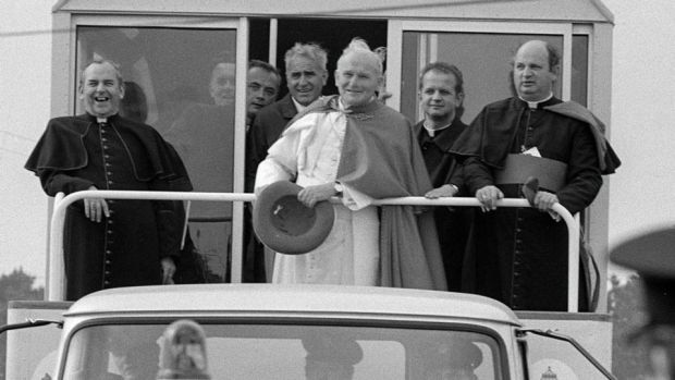 Duped: Bishop Eamonn Casey (right) with John Paul II during the pope's visit to Galway in 1979. Photograph: The Irish Times