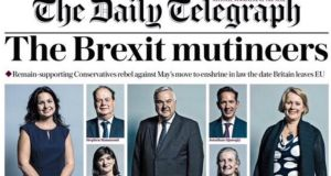 "Anna Soubry was one of 15 Conservatives pictured on  a newspaper's front page under the headline ""The Brexit Mutineers""."