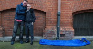 Eoin Murphy (left), originally from Armagh, who has been homeless since 2014, with Gerry Carney, case management, Inner City Helping Homeless. Photograph: Dave Meehan