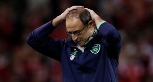 Republic of Ireland manager Martin O'Neill during the second leg against Denmark. Photograph: Action Images via Reuters/Lee Smith