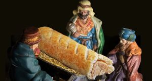 Greggs advertisement: The three wise men and the sausage roll in a manger. Photograph: PA