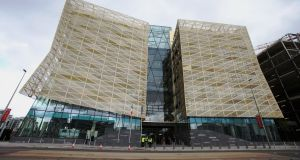 A view of Central Bank of Ireland's new Dublin Docklands headquarters. Photograph: Niall Carson / PA Wire