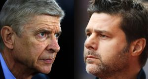 Arsène Wenger, Arsenal's manager, and Mauricio Pochettino, manager of Spurs