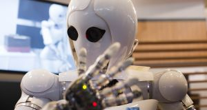 "An artificial intelligence android developed in Germany. PwC's forum ""Man and Machine"" on the economic impact of AI in Ireland takes place at Convention Centre Dublin on Wednesday. Photograph: Carsten Koall/AFP/Getty Images"