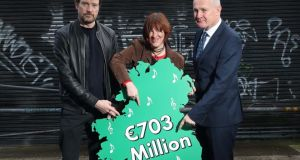Eleanor McEvoy, Steve Wall  and Victor Finn at the launch of a new report for the IMRO. Photograph: Robbie Reynolds