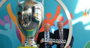 Alex Ferguson and Scotland manager Gordon Strachan during the Glasgow Uefa Euro 2020 Host City Logo Launch. The next European Championships will be played across 13 different countries. Photo: Getty Images