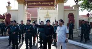 Cambodian police officers stand guard at the supreme court in Phnom Penh on Thursday. The court ruled to dissolve the country's main opposition party. Photograph: Mak Remissa/EPA