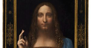 A detail from Salvator Mundi, an ethereal portrait of Jesus Christ which dates to about 1500, and is said to be the last privately owned Leonardo da Vinci painting. Photograph: Courtesy of Christie's New York