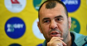 Australia's head coach Michael Cheika speaking  to the media following a training session  in London. Photograph:  Dan Mullan/Getty Images