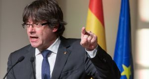 Ousted Catalan leader Carles Puigdemont:  will argue that Spain's attempts to repatriate him are unlawful and politically motivated. Photograph:  Stephanie Lecocq/EPA
