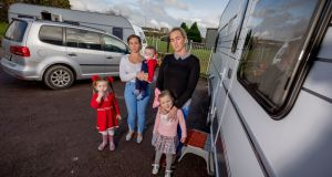Margaret and Mary McInerney with, from left, Maikaila (3), Gary (10 months), and Ellie May (4) at their caravans  at Ballygriffin, Aglish, Co. Kilkenny. Photograph:  Dylan Vaughan.