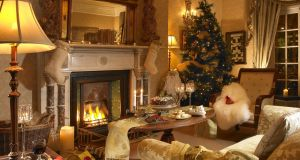 The Christmas-decorated drawingroom at Hayfield Manor in Cork.