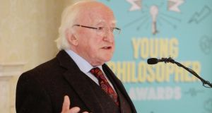 President Michael D Higgins speaking at a  reception to mark World Philosophy Day at Áras an Uachtaráin. Photograph: Maxwell Photography
