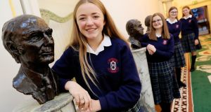 Students from Our Lady's, Terenure  Lily Thorup, Sarah Norris, Isabel McLoughlin and Jenny Lynch at Áras an Uachtaráin to mark the launch the the Irish Young Philosopher Awards. Photograph: Maxwell Photography