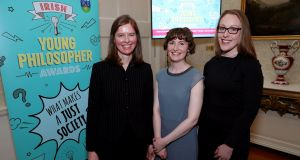Dr Danielle Petherbridge (left) and Dr Áine Mahon (centre), both from UCD, with Elizabeth O'Brien, teacher at Our Lady's School in Terenure, Dublin at  the launch the the Irish Young Philosopher Awards at Áras an Uachtaráin. Photograph: Maxwell Photography