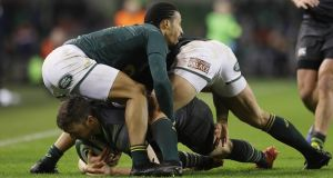 Jesse Kriel and Courtnall Skosan's failure to smash Darren Sweetnam into touch was completely unacceptable. Photograph: Lorraine O'Sullivan