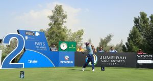 Ireland's  Paul Dunne tees off on the second hole during the first round of the DP World Tour Championship at Jumeirah Golf Estates  in Dubai. Photograph: Andrew Redington/Getty Images