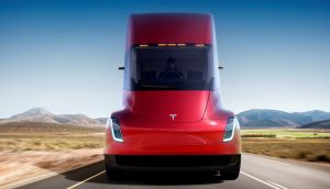 The Tesla Semi, the company's electric big-rig truck is seen in this undated handout image released on Thursday. Photograph: Tesla/Reuters