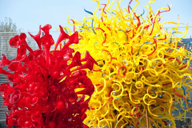 And installation by glass artist Dale Chihuly at Chihuly Garden and Glass showcases at the Seattle Center