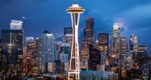The Space Needle is now the symbol of the city. You can take an elevator to the top for great views across Seattle