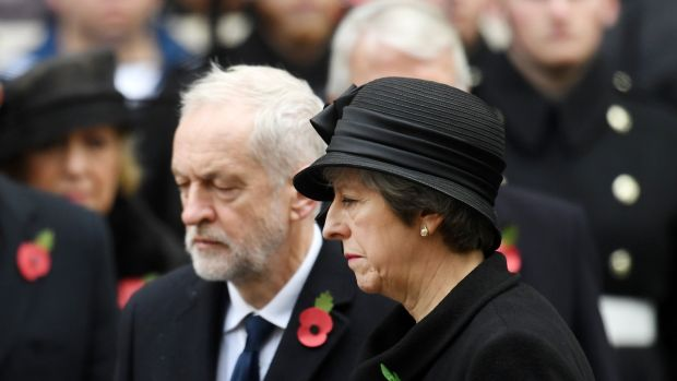British prime minister Theresa May with Labour leader Jeremy Corbyn.