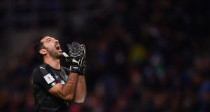 Italy's goalkeeper Gianluigi Buffon reacts during their 2018 World Cup playoff second leg with Sweden. Photo: Marco Bertorello/Getty Images
