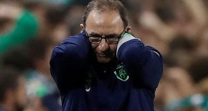Martin O'Neill during the Denmark match.  If he's okay to continue with his hands-off approach then people are going to query it when it looks like his team lack guidance. Photograph: Reuters/Lee Smith