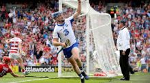 Austin Gleeson celebrates scoring Waterford's third goal in their All-Ireland Senior Hurling semi-final victory over Cork. Photograph: Ryan Byrne/Inpho