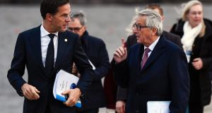 European Commission president Jean-Claude Juncker and Dutch prime minister Mark Rutte during the European Social Summit in Gothenburg. Photograph: Jonathan Nackstrand/AFP/Getty Images