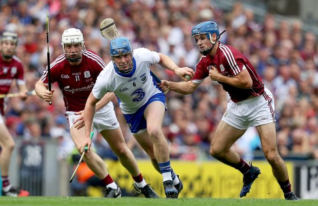 Austin Gleeson of Waterford is closed down by Galway's Joe Canning and Johnny Coen during the All-Ireland final. Photograph: Tommy Dickson/Inpho