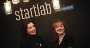 Francesca McDonagh of Bank of Ireland and Claire McHugh of  Axonista:  Startlab Camden Street is the third technology incubator space operated by the bank. Photograph: Julien Behal