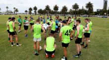 Joe Kernan addresses his Ireland International rules squad at training in  Langley Park this week. Photograph: Tommy Dickson